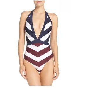 Ted Baker London Contrast Stripe Deep V Swimsuit
